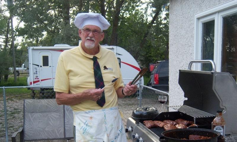 Darryl barbecuing ribs